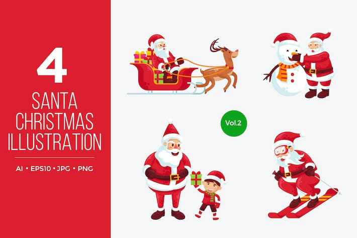 Thumbnail for Cute Santa Claus Vector Character Set 2