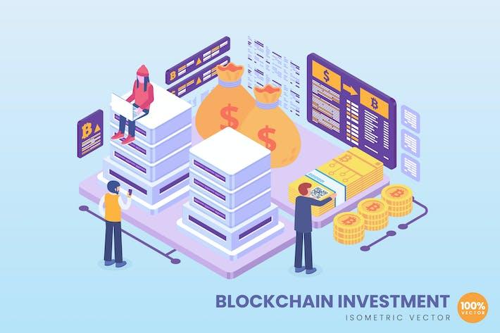 Изометрическая концепция инвестиций в блокчейн