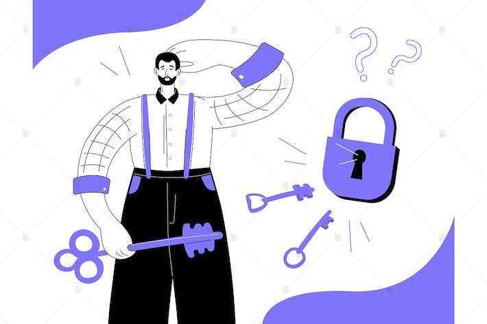 Thumbnail for Solución de problemas - ilustración de estilo de diseño plano
