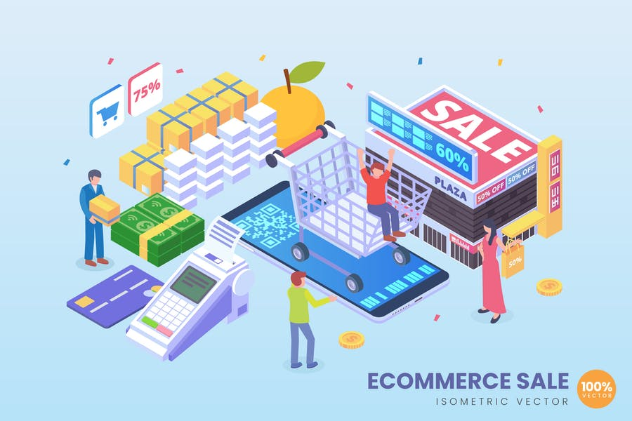 Isometric E-Commerce Store Sale Vector Concept