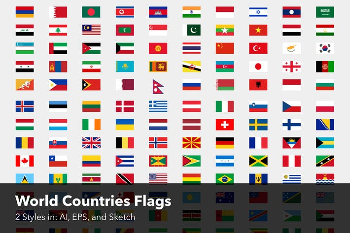 Thumbnail for World Countries Flags - Two styles