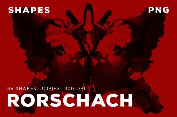 Cover Image For 36 Rorschach PNG Ink Shapes