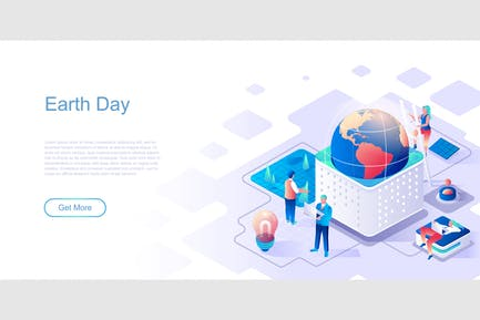 Earth Day Isometric Flat Concept Header