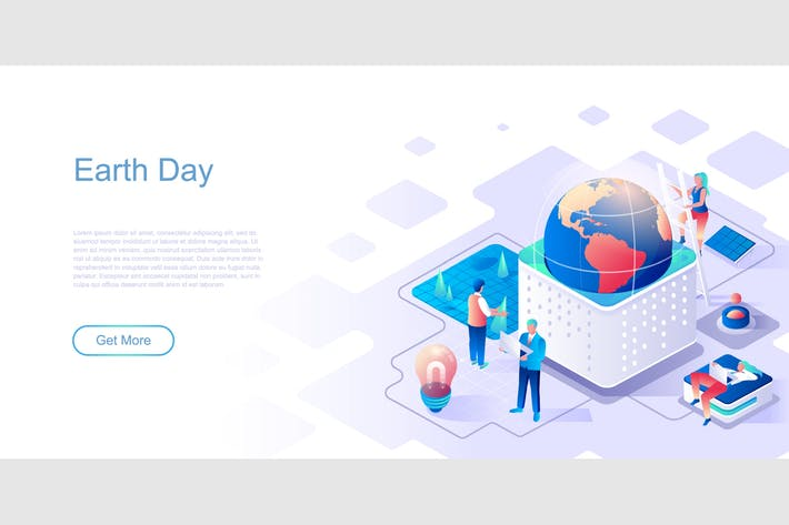 Thumbnail for Earth Day Isometric Flat Concept Header