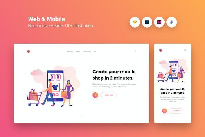 Thumbnail for Web & Mobile Responsive Cover UI + Illustration 7