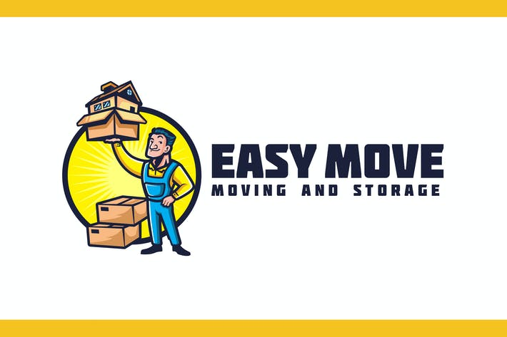 Thumbnail for Retro Mover Mascot - Moving Service Logo