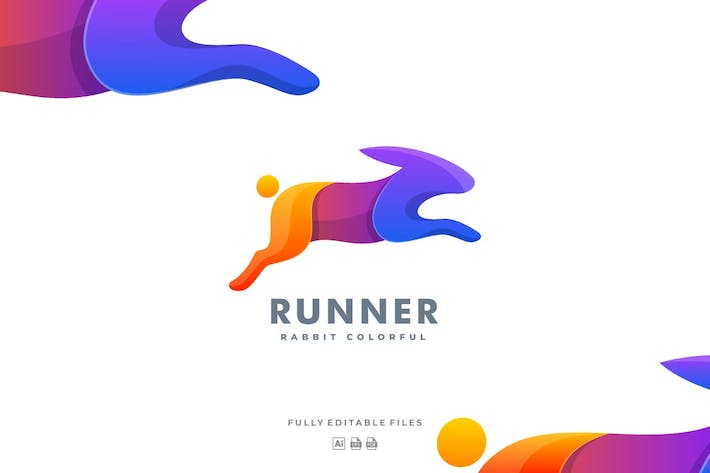 Thumbnail for Rabbit Run Gradient Colorful Logo