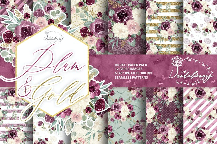 Thumbnail for Watercolor Plum and Gold digital paper pack