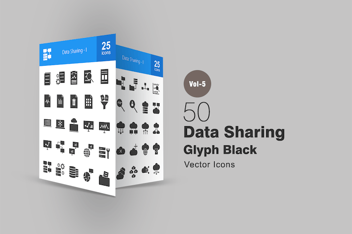 Cover Image For 50 Data Sharing Glyph Icons