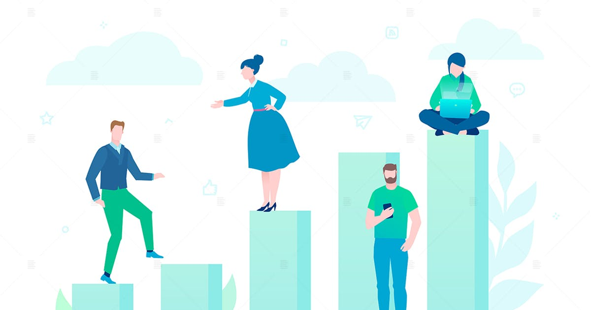 Download Business growth - flat design style illustration by BoykoPictures