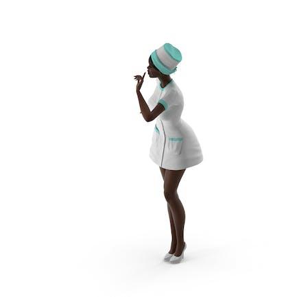 Enfermera negra de piel oscura