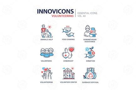 Volunteering - modern vector line icons set