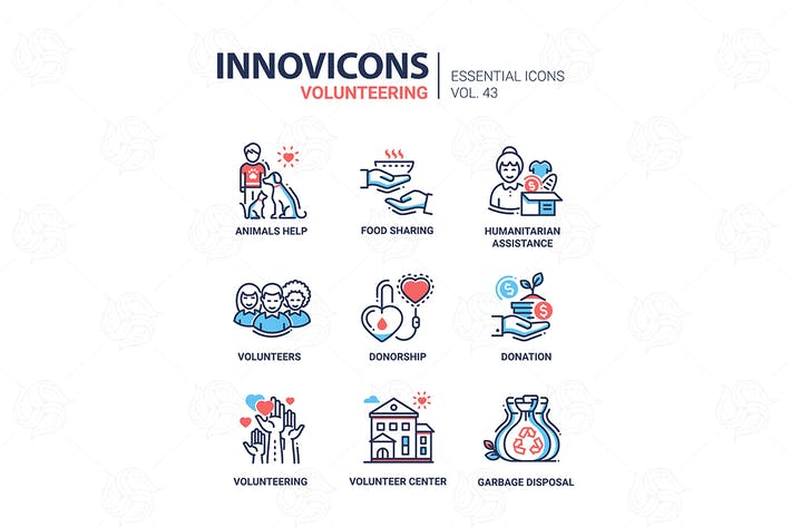 Thumbnail for Volunteering - modern vector line icons set