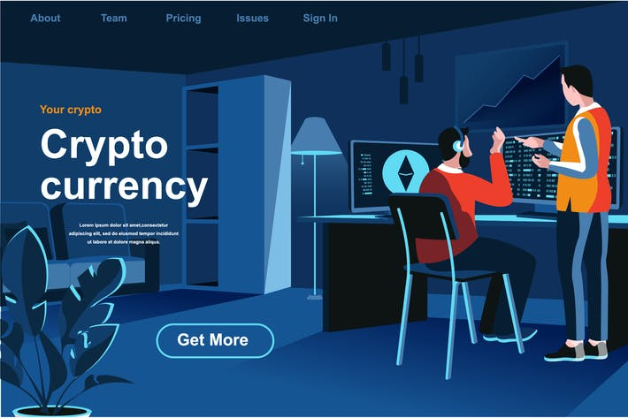 Isometrische Cryptocurrency Webseite Flat Concept