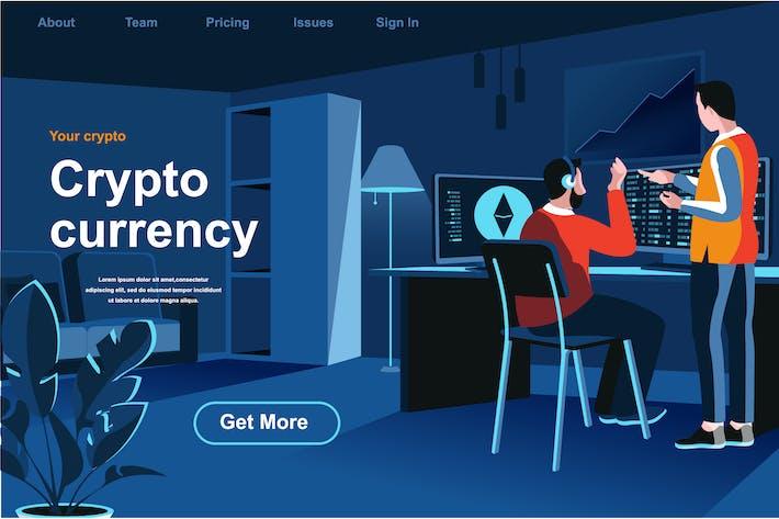 Криптовалюта Изометрическая веб-страница Плоская концепция