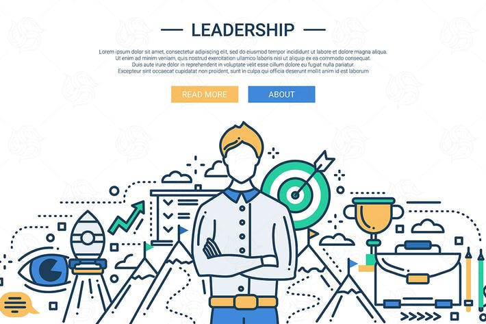 Thumbnail for Leadership Line flaches Design Website Banner