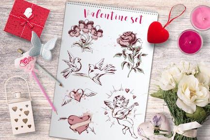 Vintage Valentine Design Elements