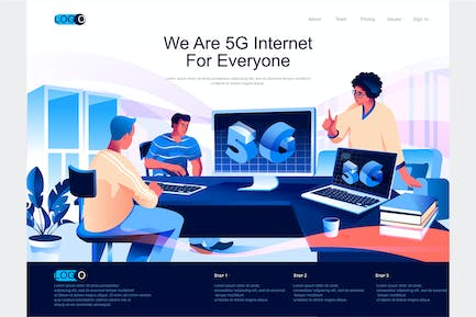 5G Internet Isometric Landing Page Template