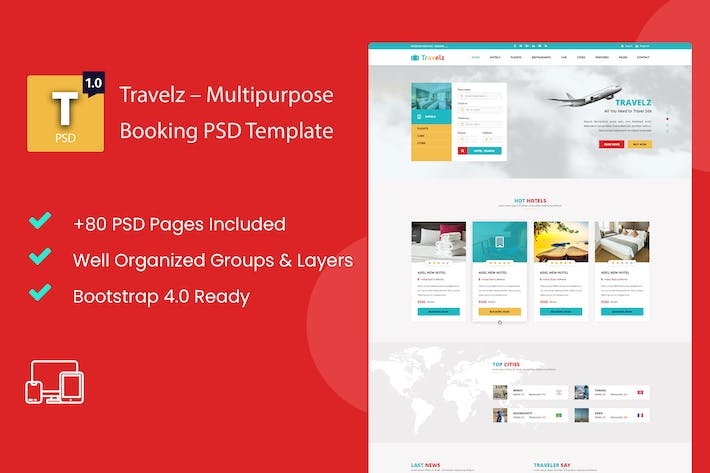 Thumbnail for Travelz – Multipurpose Booking PSD Template