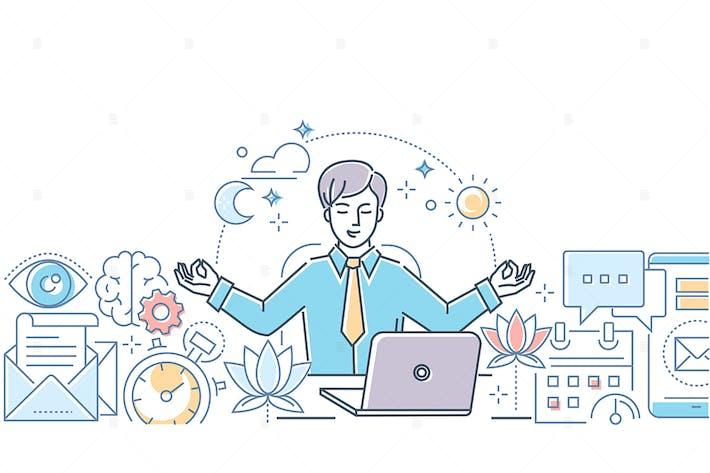 Thumbnail for Mindfulness at work - line design illustration