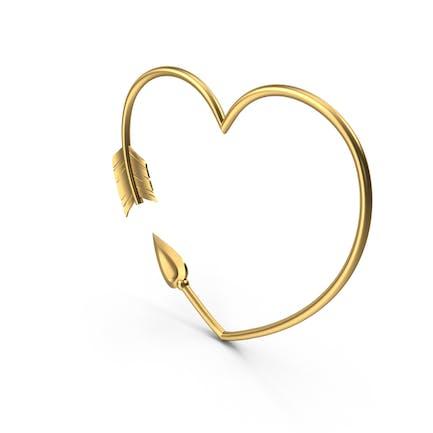 Flecha dorada en forma de corazón