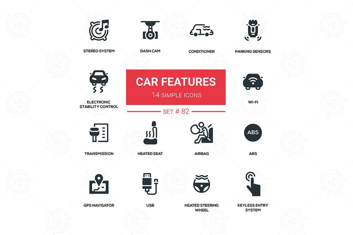 Thumbnail for Car features - line design silhouette icons set