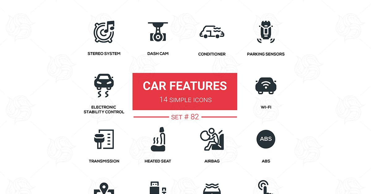 Download Car features - line design silhouette icons set by Unknow