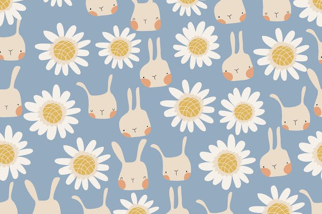 Vector seamless pattern of cute cartoon bunnies an