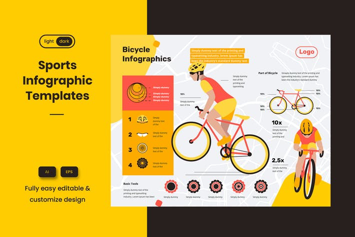 Sport Infographic Template: Riding a bike is safe