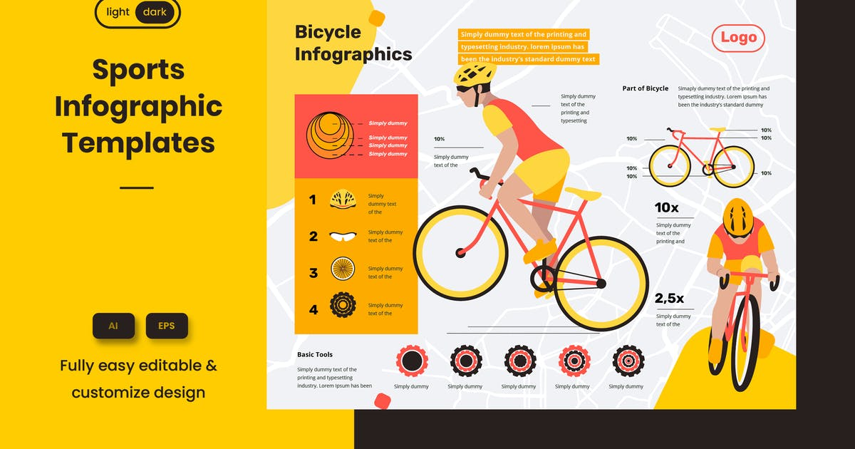 Download Sport Infographic Template: Riding a bike is safe by pinisiart