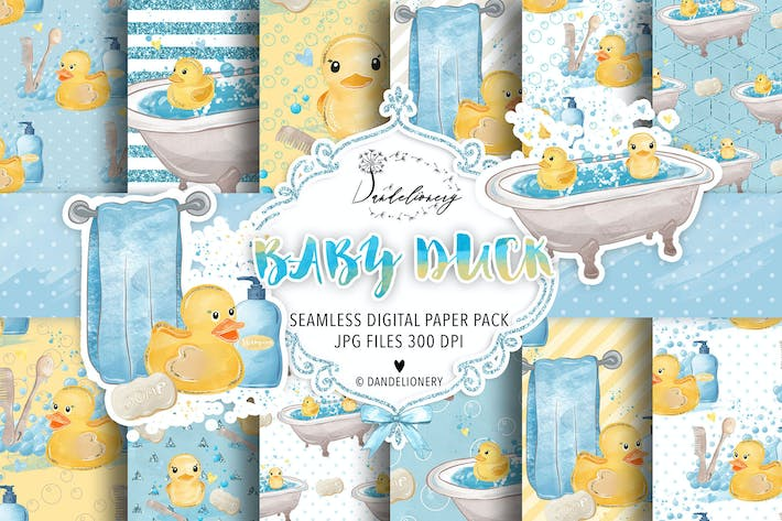 Thumbnail for Watercolor Baby Duck digital paper pack