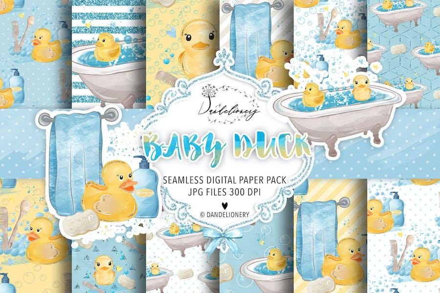 Watercolor Baby Duck digital paper pack