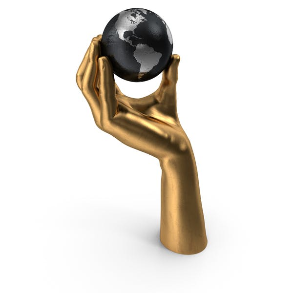 Golden Hand Holding a Silver Earth