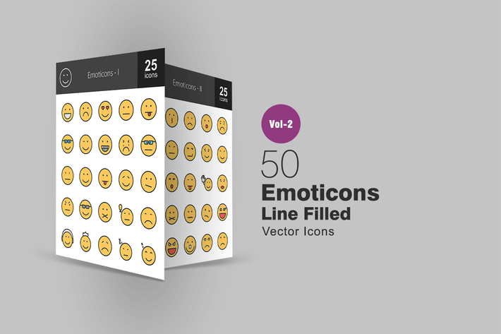 Thumbnail for 50 Emoticons Line Filled Icons