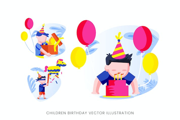 Thumbnail for Children Birthday Party Vector Character Set