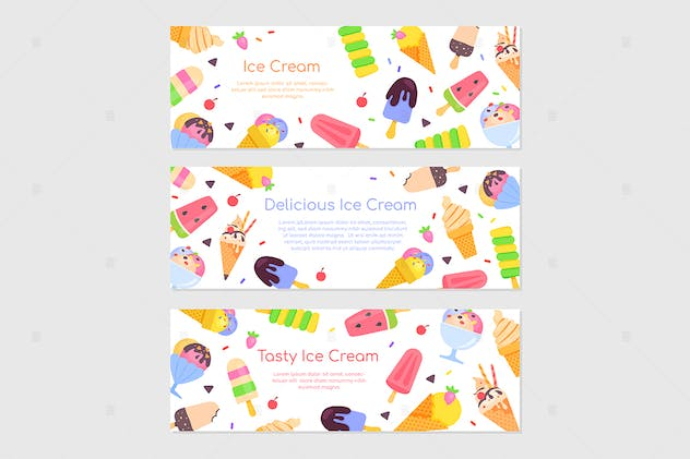 Delicious ice cream - flat design style banners - product preview 1