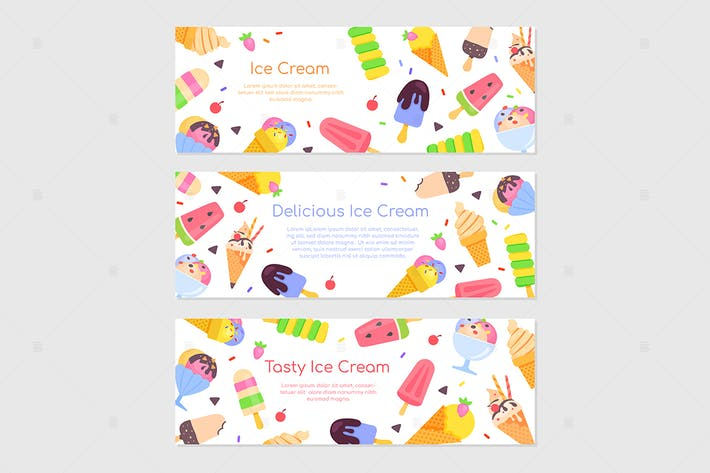 Thumbnail for Delicious ice cream - flat design style banners