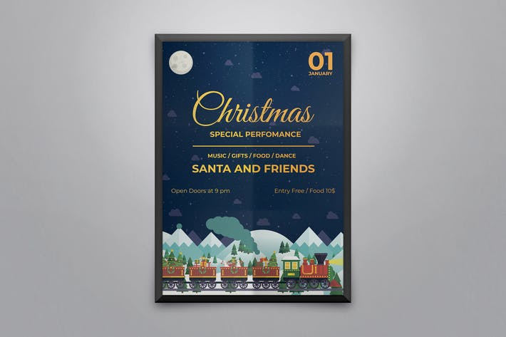 Thumbnail for Рождественская вечеринФлаер и Шаблон плаката