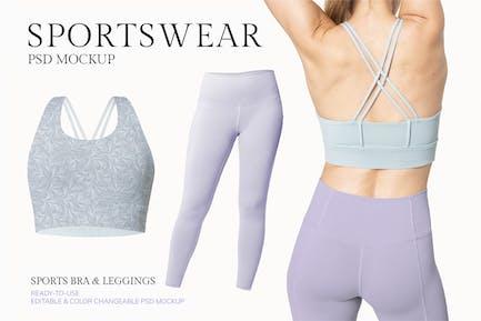 Woman wearing sportswear mockup design