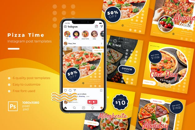 Fast Food Instagram post template