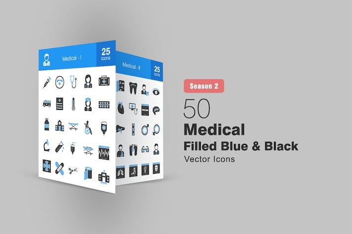50 Medical Filled Blue & Black Icons Season II