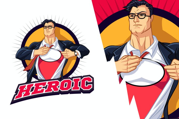 Thumbnail for Muscular Young Businessman Superhero Mascot Logo