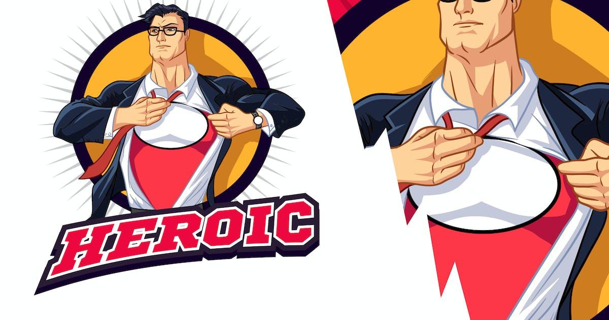 Download Muscular Young Businessman Superhero Mascot Logo by Suhandi