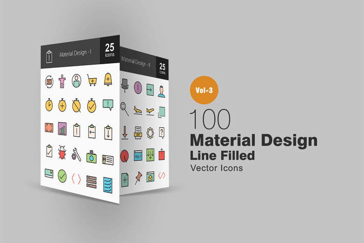 Thumbnail for 100 Icons mit Material-Design Linie gefüllt