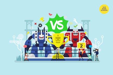 Bot Fighting Turnier Vektor konzept
