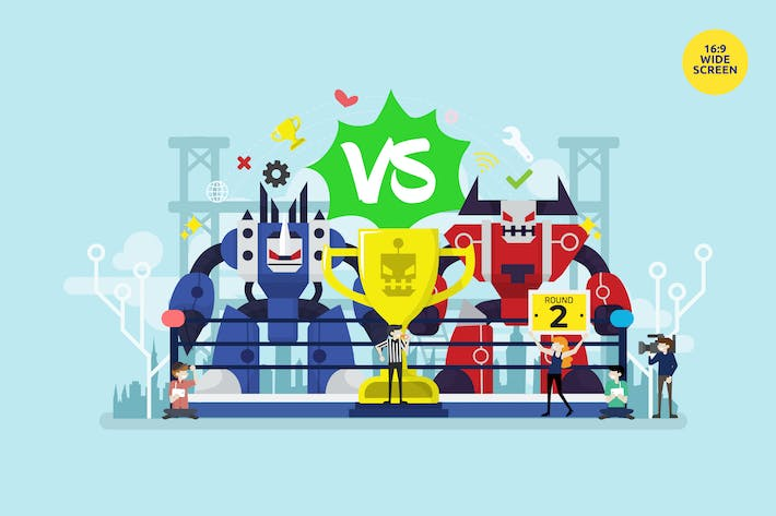 Thumbnail for Bot Fighting Tournament Vector Concept