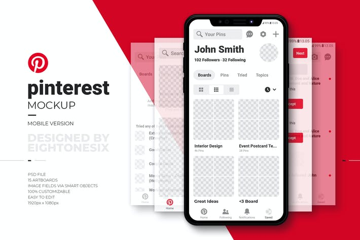 Thumbnail for Pinterest Mobile Mock-Up Template