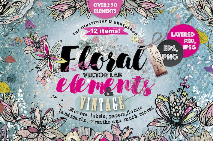 "Thumbnail for Vector lab ""Floral & vintage elements"" 250 PNG"
