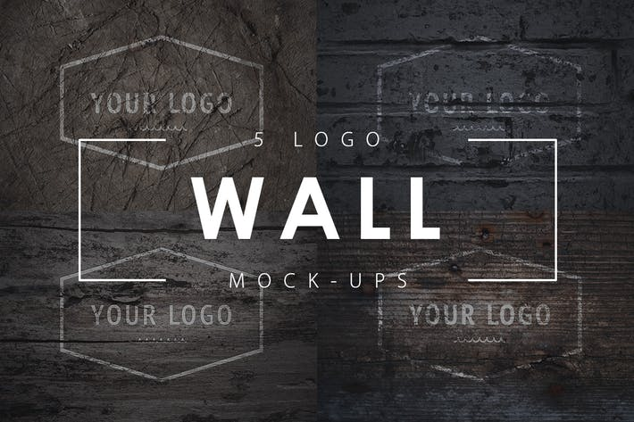 Thumbnail for 5 Wall Logo Mock-Up's