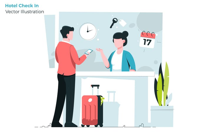 Thumbnail for Hotel Check In - Vector Illustration